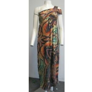 NICOLE MILLER Muti Colored One Shoulder Gown SZ 4